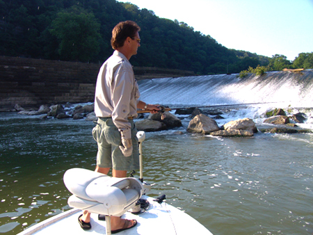 Kentucky Afield television show host Tim Farmer fishes below Lock and Dam 7 on the Kentucky River near High Bridge. The Kentucky River offers excellent fishing for black bass, crappie, muskellunge, white and hybrid striped bass and bluegill. Boating access to the Kentucky River is better than ever and this overlooked fishing resource is close to a large swath of Kentucky's population.