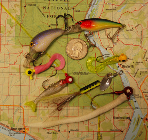 A few of author Chris Erwin's favorite baits for fishing creeks and streams. Paired these with an ultra-light spinning rod. (Photo by Chris Erwin)