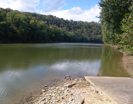 This view is from the Kentucky Department of Fish and Wildlife Resources' Steele Branch Boat Ramp looking downstream on Pool 3 of the Kentucky River. This pool features the last of the Kentucky River Palisades as well as excellent fishing for black bass, crappie, bluegill and some muskellunge. The incredible scenery on Pool 3 during the upcoming peak of the autumn colors surrounds paddlers as they make their way through this section of the Kentucky River.