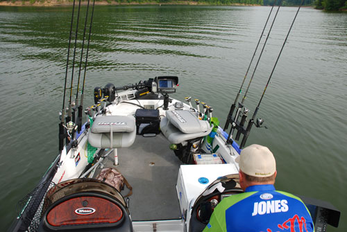 This is Davy Jones fishing rig, this is how he rigs his boat to fish using the spider rigging method photo by Chris Erwin