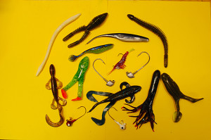 A collection of typical soft plastic baits photo by Chris Erwin