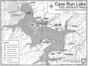 This map was produced by the Kentucky Department of Fish and Wildlife to show the areas where the habitat has been added to Cave Run Lake and where future sites are for more habitat to be added in 2015 and 2016. (Courtesy of the KDFWL).
