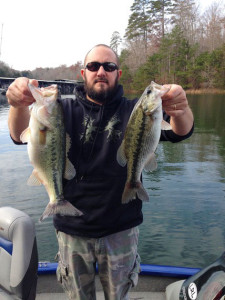 Jason Carmichael continues to catch fish at Laurel River Lake, these two fish, a Kentucky bass and largemouth bass, fell for a jigging spoon in 18 feet of water. (Photo submitted)