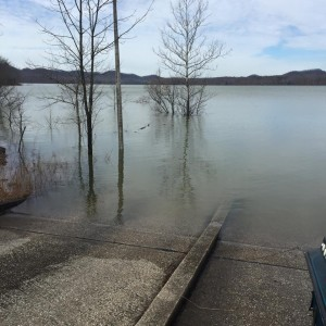 Chris Leffer submitted this picture. Many of the boat launching ramps on Cave Run Lake are under water; others are closed until water levels return to more normal levels. There are a few ramps that remain open.