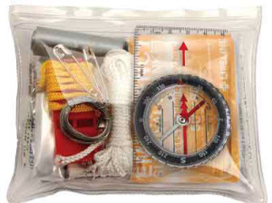 This kit only weighs 5 oz. and comes in a waterproof bag. It also has all of the things I have covered except water purification pills and wire saw. It includes 29 pieces and costs about $14.00. (Photo provided by first-aid-products.com)